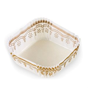 SQUARE PASTRY CUP, WHITE / GOLD