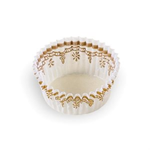SMALL PETIT FOUR CUP, WHITE / GOLD