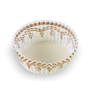 MEDIUM PETIT FOUR CUP, WHITE / GOLD