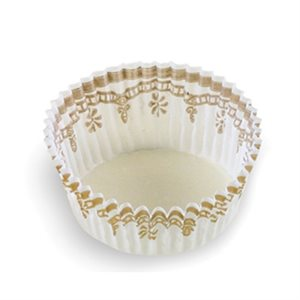 LARGE PETIT FOUR CUP, WHITE / GOLD