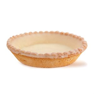 SCALLOPED-EDGE WHITE COATED SWEET TARTLET, ROUND (3.5 IN / 9 CM)