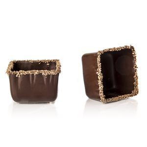 RIMMED SQUARE CUP, DARK CHOCOLATE