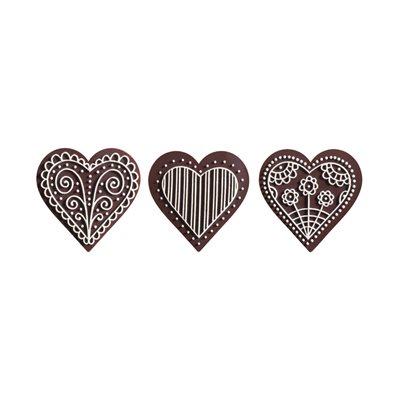 LITTLE EMBOSSED HEARTS DK CHOC WHT 3 DSGN, 126PC