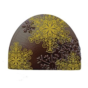 EMBOSSED SNOWFLAKE YULE LOG DECOR, DARK CHOCOLATE
