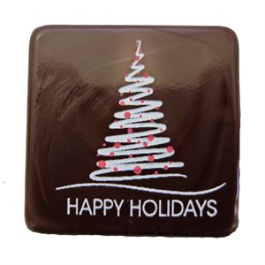 HAPPY HOLIDAYS PLAQUETTE, DARK CHOCOLATE