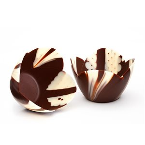 MICRO THIN OPEN WHITE TULIP CUP, SEMISWEET CHOCOLATE