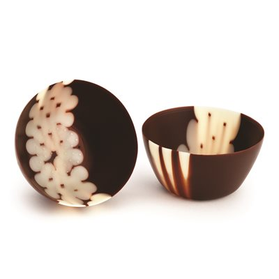 MICRO THIN CUP WITH STRIPES, SEMISWEET CHOCOLATE