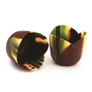 MICRO THIN GREEN TULIP CUP, SEMISWEET CHOCOLATE
