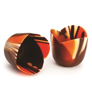 MICRO THIN ORANGE TULIP CUP, SEMISWEET CHOCOLATE